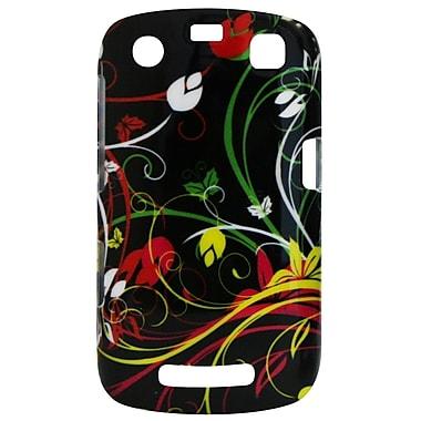 Exian – Étui pour BlackBerry Curve 9360 avec tourbillons de fleurs sur fond noir