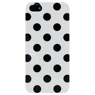 Exian – Étui à gros pois pour iPhone 5/5s, blanc