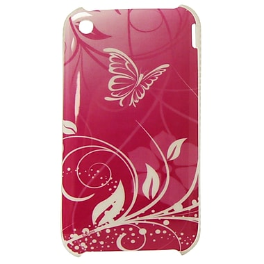 Exian iPhone 3/3G Hard Plastic Case, Butterfly & Flowers Pink