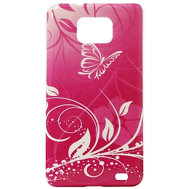 Exian Case for Galaxy S2, Butterfly & Flowers Pink