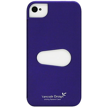 Exian iPhone 4/4s Case, Plain with Card Slot Purple