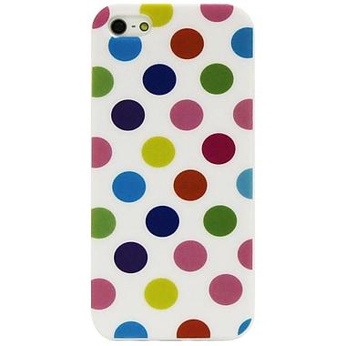 Exian – Étui à gros pois multicolores pour iPhone 5/5s, blanc