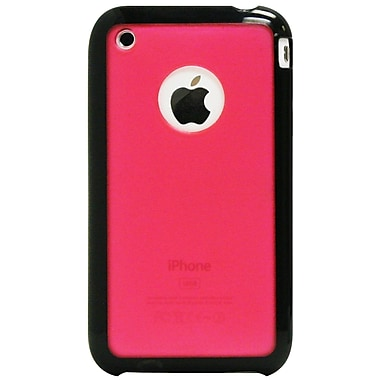 Exian Pink iPhone 3G 3Gs Case, Pink Transparent with Rubber Edges