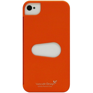 Exian iPhone 4/4s Case, Plain with Card Slot Orange