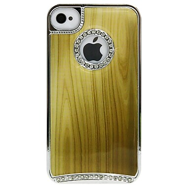 Exian Brown iPhone 4/4s Case, Wood Pattern with Rhinestones Brown