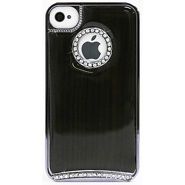 Exian Case for iPhone 4, Dark Wood with Silver Sides