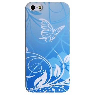 Exian – Étui pour iPhone 5/5s, bleu, fleurs et papillons