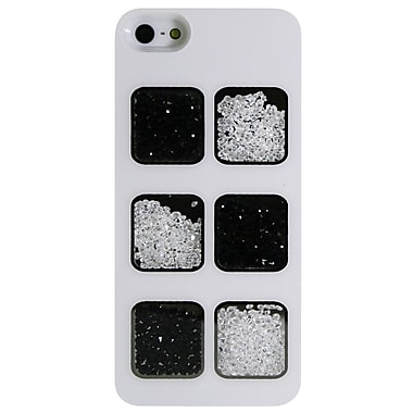 Exian iPhone SE/5/5s Case, White/Black Crystals, White