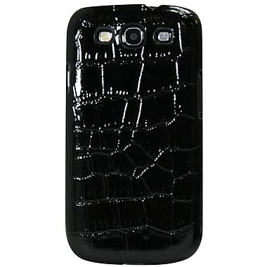 Exian – Étui noir à motif de peau de crocodile pour Galaxy S3
