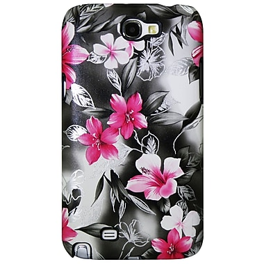 Exian Case for Galaxy Note 2, Floral Pattern Black & Pink
