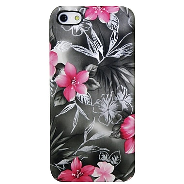 Exian iPhone SE/5/5s Case, Pink & Black Floral Pattern