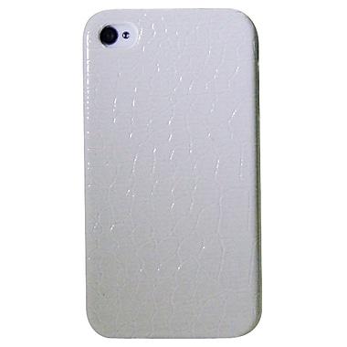Exian – Étui pour iPhone 4/4s, motif peau de crocodile, blanc
