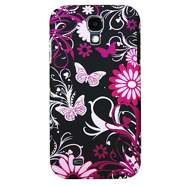 Exian Case for Galaxy S4, Floral Pattern Black & Pink