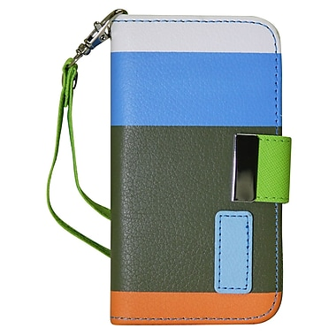 Exian Case for Galaxy S4, Leather Wallet Blue Green Orange