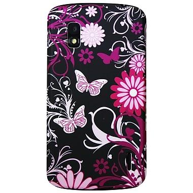 Exian – Étui noir à motifs floraux roses NEX4005 pour Nexus 4