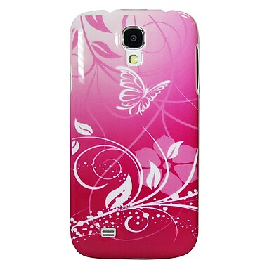 Exian Case for Galaxy S4, Butterflies & Flowers Pink