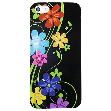 Exian iPhone SE/5/5s Case, Floral Pattern on Black