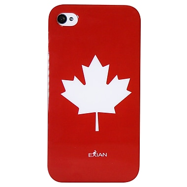 Exian iPhone 4/4s Case, Maple Leaf Red on White