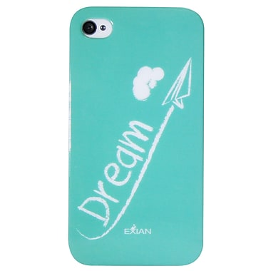 Exian – Étui « dream » blanc sur fond sarcelle pour iPhone 4/4s