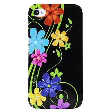 Exian iPhone 4/4s Case, Floral Pattern on Black