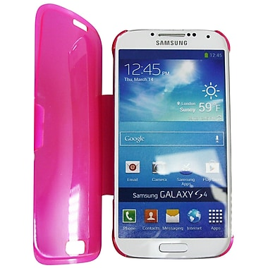 Exian Case for Galaxy S4, Transparent with Front Cover Pink
