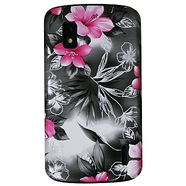 Exian Case for Nexus 4, Floral Pattern Black & Pink