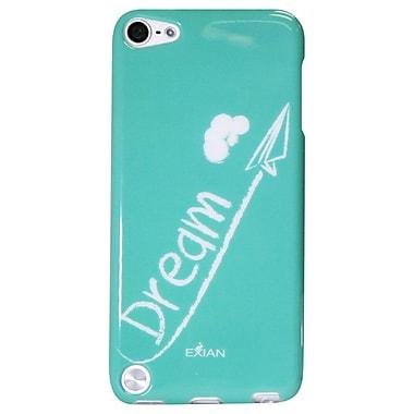 Exian – Étui TPU pour iPod touch 5, logo « Dream » blanc sur bleu sarcelle