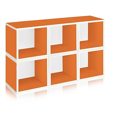 Way Basics Eco-Friendly 6 Stackable Modular Storage Cubes, Orange - Lifetime Warranty