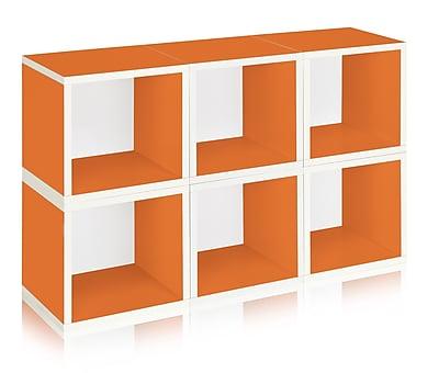 Way Basics Eco-Friendly 6 Stackable Modular Storage Cubes, Orange