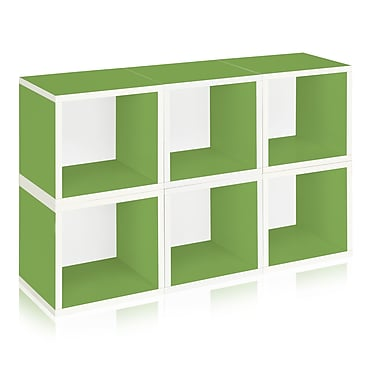 Way Basics Eco-Friendly 6 Stackable Modular Storage Cubes, Green - Lifetime Warranty