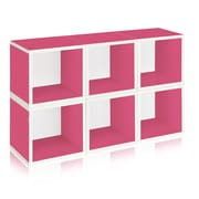 Way Basics Eco-Friendly 6 Stackable Modular Storage Cubes, Pink - Lifetime Warranty