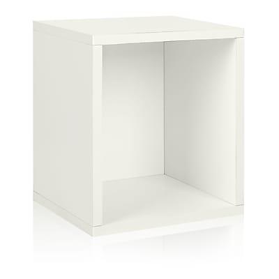 Way Basics Eco-Friendly Stackable Storage Cube Plus Organizer, White - Lifetime Warranty