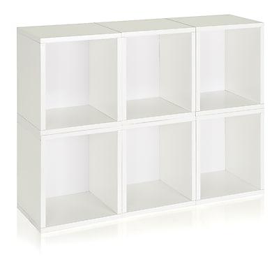 Way Basics Eco-Friendly 6 Stackable Modular Storage Cubes Plus, White - Lifetime Warranty