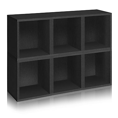 Way Basics Eco-Friendly 6 Stackable Modular Storage Cubes Plus, Black Wood Grain - Lifetime Warranty