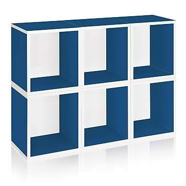 Way Basics Eco-Friendly 6 Stackable Modular Storage Cubes Plus, Blue - Lifetime Warranty