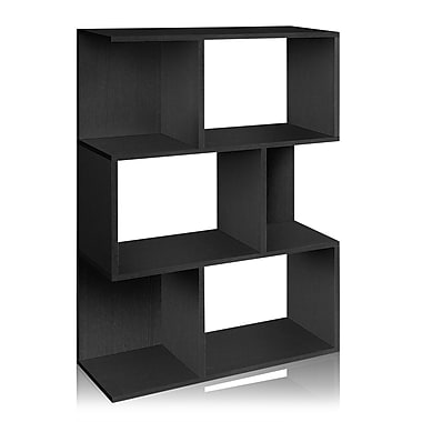 Way Basics Eco-Friendly 3 Shelf Madison Bookcase, Room Divider, Storage Shelf, Black Wood Grain - Lifetime Warranty