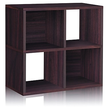 Way Basics Eco-Friendly 4 Cubby Bookcase, Stackable Organizer, Storage Shelf, Espresso Wood Grain - Lifetime Warranty