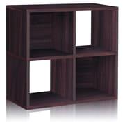 Way Basics Eco-Friendly 4 Cubby Bookcase, Stackable Organizer, Storage Shelf, Espresso Wood Grain - Lifetime Warranty