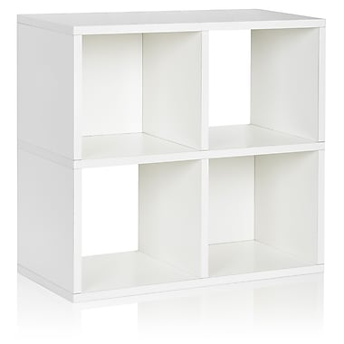Way Basics Eco-Friendly 4 Cubby Bookcase, Stackable Organizer, Storage Shelf, White - Lifetime Warranty