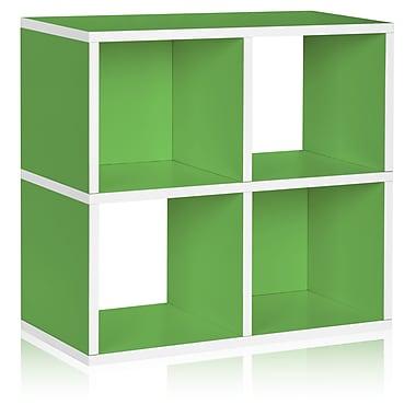 Way Basics Eco-Friendly 4 Cubby Bookcase, Stackable Organizer, Storage Shelf, Green - Lifetime Warranty