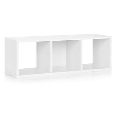 Way Basics Eco-Friendly 3 Cubby Stackable Storage Bench Organizer, White - Lifetime Warranty