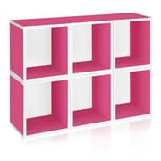 Way Basics Eco-Friendly 6 Stackable Modular Storage Cubes Plus, Pink