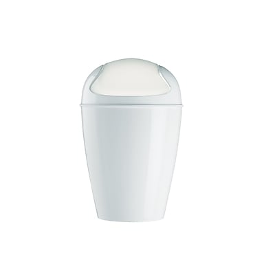 Koziol Plastic Small Del Swing-Top Wastebasket; White (5777525)