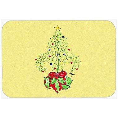 Caroline's Treasures Christmas Tree Fleur De Lis Kitchen/Bath Mat; 24'' H x 36'' W x 0.25'' D