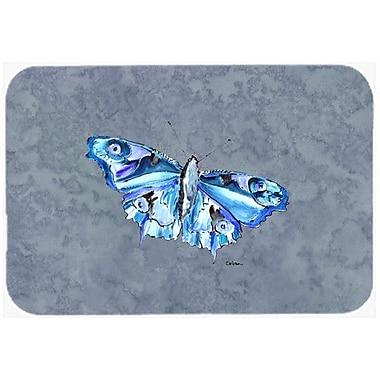 Caroline's Treasures Butterfly on Gray Kitchen/Bath Mat; 20'' H x 30'' W x 0.25'' D