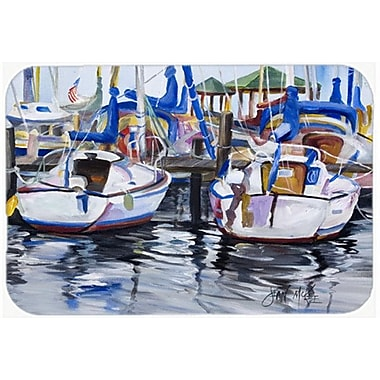 Caroline's Treasures Sailboats Kitchen/Bath Mat; 24'' H x 36'' W x 0.25'' D
