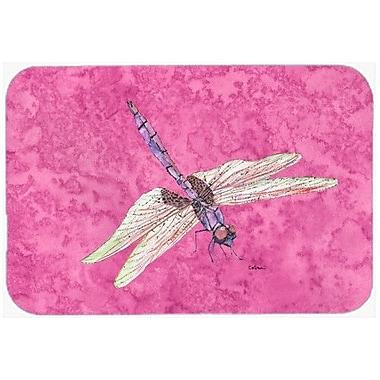 Caroline's Treasures Dragonfly on Pink Kitchen/Bath Mat; 20'' H x 30'' W x 0.25'' D