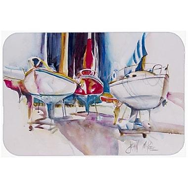Caroline's Treasures Sailboats In Dry Dock Kitchen/Bath Mat; 20'' H x 30'' W x 0.25'' D
