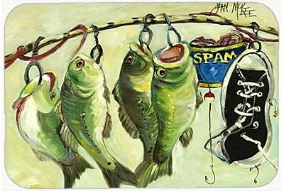Caroline's Treasures Recession Food Fish Caught w/ Spam Kitchen/Bath Mat; 20'' H x 30'' W x 0.25'' D