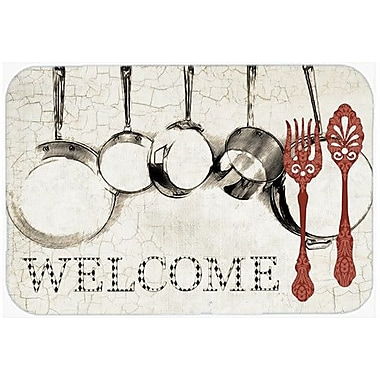 Caroline's Treasures Pots and Pans Welcome Kitchen/Bath Mat; 20'' H x 30'' W x 0.25'' D